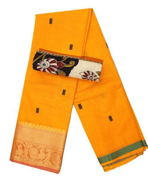 Chettinad pure cotton Handloom saree with buta and matching kalamkari blouse material  (30743A), Sarees - Swadeshi Boutique