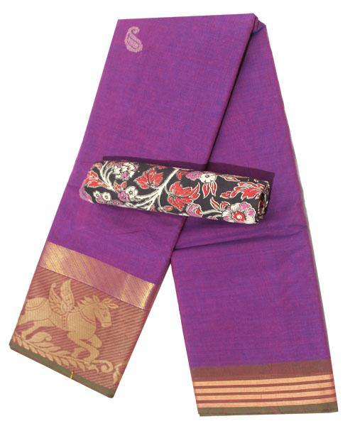 Chettinad handloom cotton saree with buta and a Kalamkari blouse material (30750A), Sarees - Swadeshi Boutique