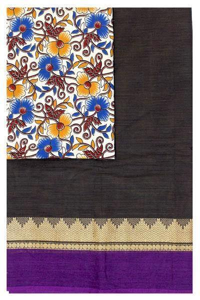 Chettinad pure cotton saree with Kalamkari designer blouse material (30760A) * Sale 50% Off *, Sarees - Swadeshi Boutique