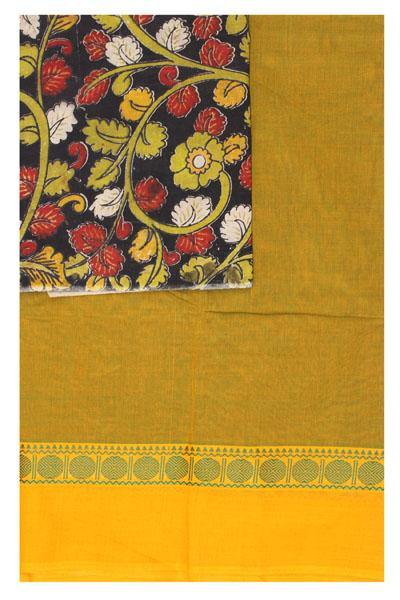 Chettinad pure cotton Handloom saree and beautiful matching kalamkari blouse material  (30767A), Sarees - Swadeshi Boutique