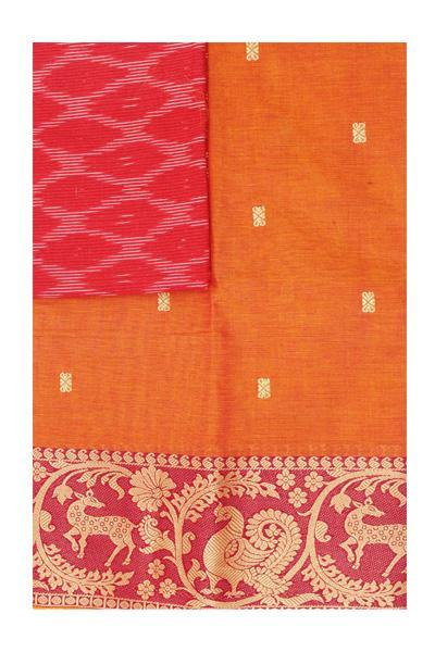 Chettinad handloom cotton saree with buta and beautiful Ikkat blouse (Rs.399 value)  (30774A), Sarees - Swadeshi Boutique