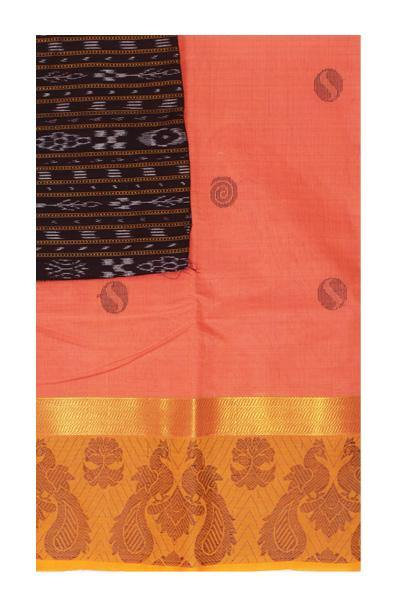 Chettinad handloom cotton saree with buta and beautiful Ikkat blouse (Rs.399 value)  (30770A), Sarees - Swadeshi Boutique