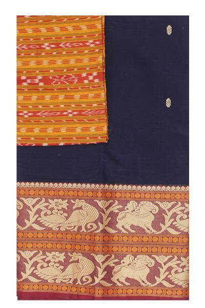 Chettinad handloom cotton saree with buta and beautiful Ikkat blouse (Rs.399 value)  (30771A), Sarees - Swadeshi Boutique