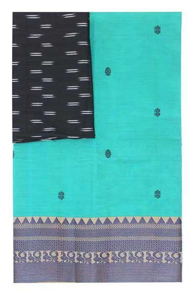 Chettinad handloom cotton saree with buta and an Ikkat blouse (Rs.399 value)  (30777A)