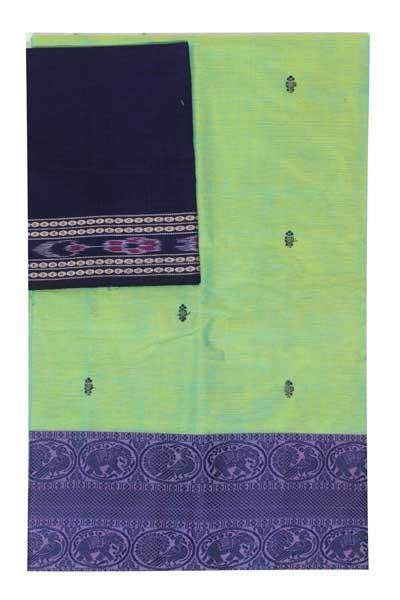 Chettinad handloom cotton saree with buta and an Ikkat blouse (Rs.399 value)  (30779A)