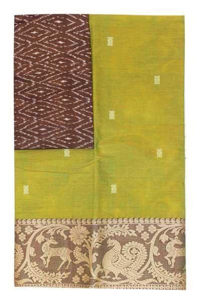 Chettinad handloom cotton saree with buta and an Ikkat blouse (Rs.399 value)  (30788A)