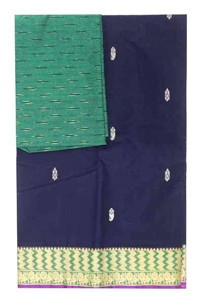 Chettinad handloom cotton saree with buta and an Ikkat blouse (Rs.349 value)  (30789A), Sarees - Swadeshi Boutique