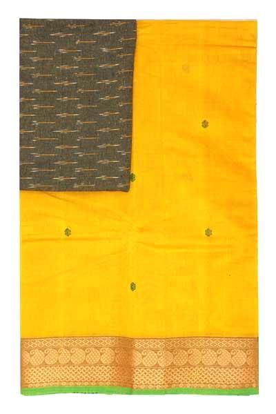 Chettinad handloom cotton saree with buta and an Ikkat blouse (Rs.349 value)  (30790A), Sarees - Swadeshi Boutique