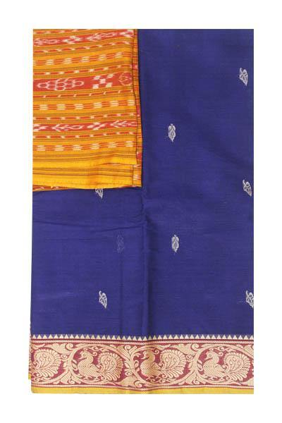 Chettinad handloom cotton saree with buta and an Ikkat blouse (Rs.349 value)  (30794A), Sarees - Swadeshi Boutique
