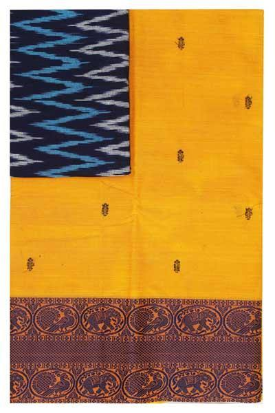 Chettinad handloom cotton saree with buta and an Ikkat blouse (Rs.399 value)  (30796A)