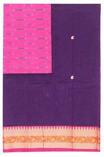 Chettinad handloom cotton saree with buta and an Ikkat blouse (Rs.399 value)  (30800A)