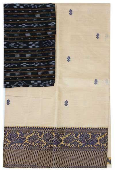 Chettinad handloom cotton saree with buta and an Ikkat blouse (Rs.399 value)  (30804A)