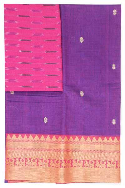 Chettinad handloom cotton saree with buta and an Ikkat blouse (Rs.399 value)  (30806A)