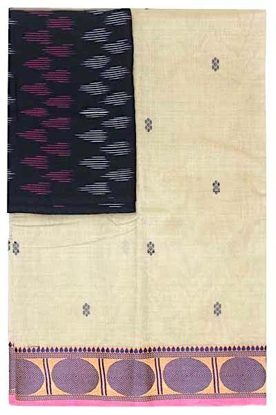 Chettinad handloom cotton saree with buta and an Ikkat blouse (Rs.349 value)  (30807A), Sarees - Swadeshi Boutique