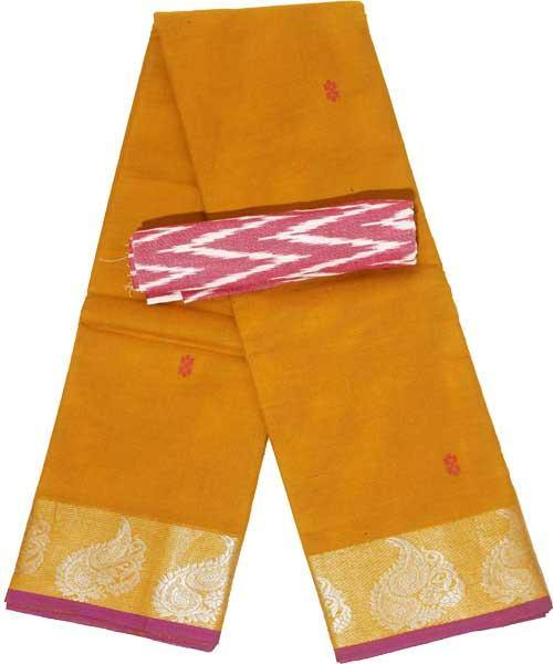 Chettinad handloom cotton saree with buta and an Ikkat blouse (Rs.399 value)  (30808A)