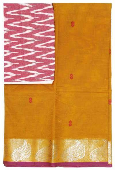 Chettinad handloom cotton saree with buta and an Ikkat blouse (Rs.399 value)  (30808A), Sarees - Swadeshi Boutique