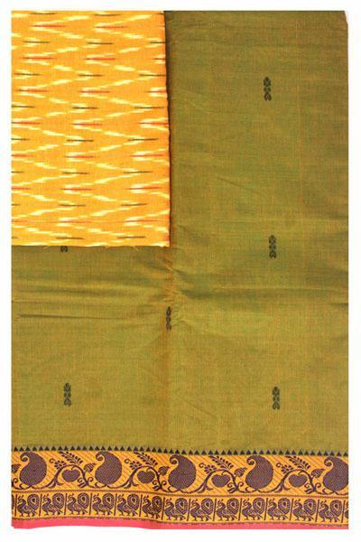 Chettinad handloom cotton saree with buta and an Ikkat blouse (Rs.349 value)  (30810A), Sarees - Swadeshi Boutique