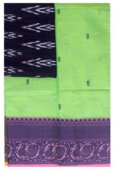 Chettinad handloom cotton saree with buta and an Ikkat blouse (Rs.349 value)  (30812A), Sarees - Swadeshi Boutique