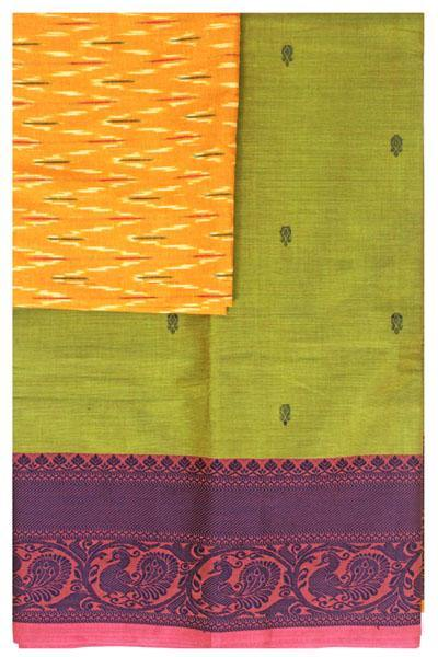 Chettinad handloom cotton saree with buta and an Ikkat blouse (Rs.349 value)  (30813A), Sarees - Swadeshi Boutique