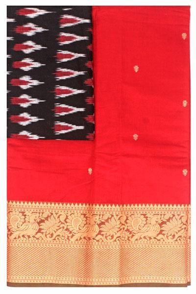Chettinad handloom cotton saree with buta and an Ikkat blouse (Rs.349 value)  (30816A), Sarees - Swadeshi Boutique