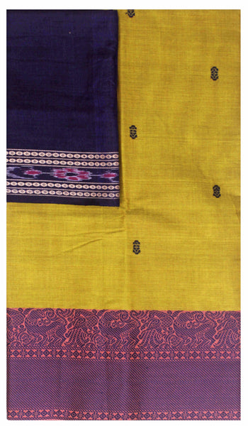 Chettinad handloom cotton saree with buta and an Ikkat blouse (Rs.349 value)  (30825A), Sarees - Swadeshi Boutique