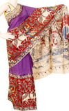 Kalamkari Nalgonda silk saree with Swan boat Border [Violet] - (31003C)  *Sale 50% Off*, Sarees - Swadeshi Boutique