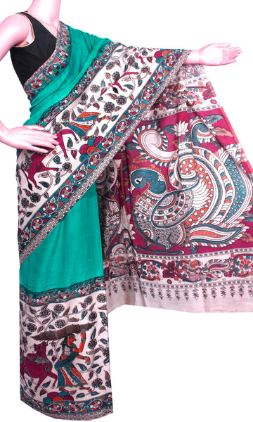 * Aadi Sale 50% Off  * Kalamkari dyed saree on Nalgonda silk with Peacock in pallu [Green] - (31004G)