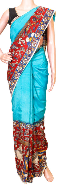 Kalamkari nalgonda silk with Swan Boat pallu (31007C) *Sale 60% Off* - Swadeshi Boutique