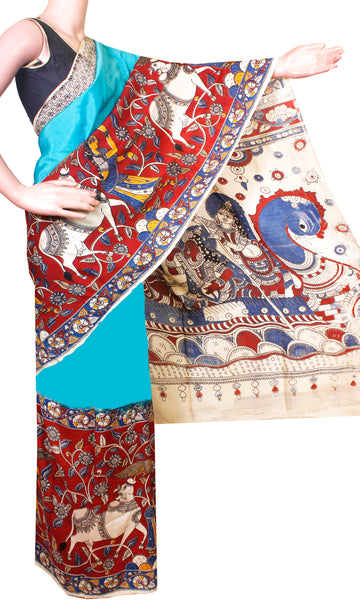 * No GST Sale Rs.500 Off *  Kalamkari dyed saree on Nalgonda SILK with Swan Boat in pallu [Blue] - (31007C), Sarees - Swadeshi Boutique