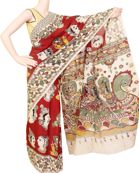 Kalamkari dyed saree on Nalgonda silk with faces in body & swan boat in pallu [Red] - (31009A) - Swadeshi Boutique