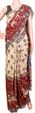 Kalamkari dyed saree on Nalgonda silk with Peacock in pallu - Beige & Red (31010B)* Rs.200 off *, Sarees - Swadeshi Boutique