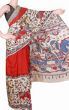* Summer Sale Rs.200 off * Kalamkari dyed saree on Nalgonda silk with Swan boat in pallu - (31011A)