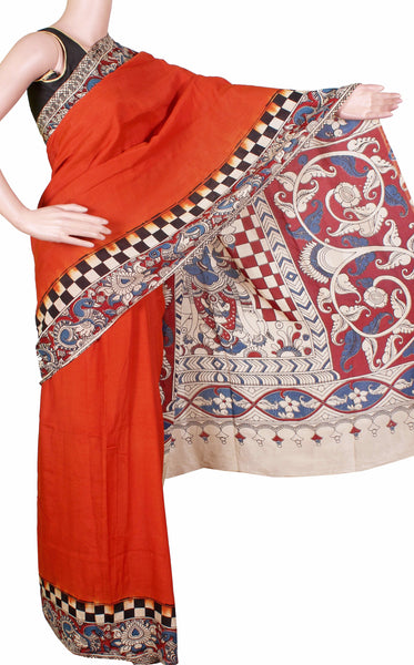* Popular * Kalamkari dyed saree on Nalgonda silk with a checked border (dark orange) and a Krishnar pallu - (31012A)