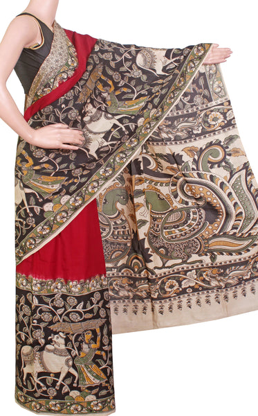 *Popular* Kalamkari dyed saree on Nalgonda silk with Swan Boat in pallu [Maroon] - (31015A)