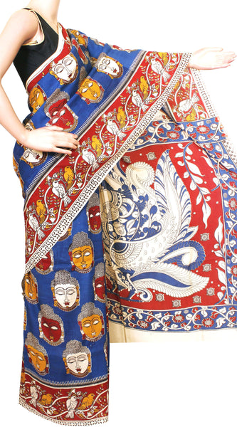 Kalamkari dyed saree on Nalgonda silk with Buddha in Body and parrot in Border [Blue] - (31023A) *Sale 50% Off* - Swadeshi Boutique