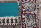 * Mega Sale Rs.200 off *  Kalamkari dyed saree with dancing doll in border [Green] - Premium cotton(32001A)