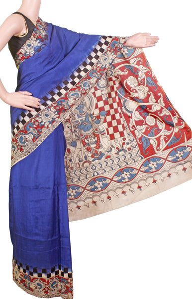 Kalamkari dyed plain saree with a checked border and Krishnar Pallu [Blue] - Premium cotton(32003B), Sarees - Swadeshi Boutique