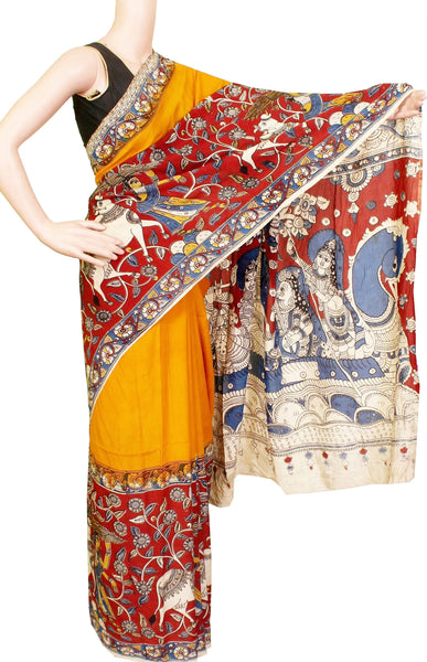 Kalamkari dyed saree with Patly pallu [Mustard] - Premium cotton(32006A)