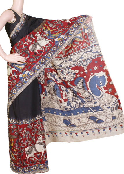 Kalamkari dyed plain saree with a checked border and Krishnar Pallu [Black] - Premium cotton(32006B)