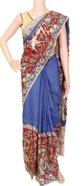 Kalamkari dyed saree with Patly pallu with an attached blouse [Blue] - Premium cotton(32006C)* No GST Sale Rs.200 off *, Sarees - Swadeshi Boutique
