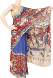 Kalamkari dyed saree with Patly pallu with an attached blouse [Blue] - Premium cotton(32006C)* Sale 50% Off*, Sarees - Swadeshi Boutique