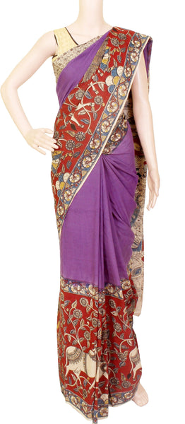 * Summer Sale Rs.200 off *  Kalamkari dyed plain saree with a beautiful women and cow border and swan pallu [Violet] - Premium cotton(32006D)