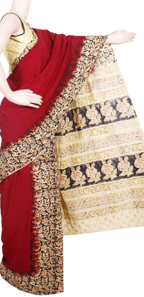 *Clearance sale *  Kalamkari dyed saree with Partly pallu with a beautiful design [Maroon] -Premium cotton(32008A)