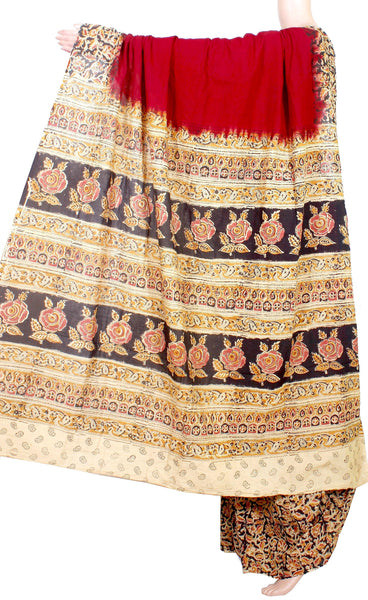 Kalamkari dyed saree with Partly pallu with a design [Maroon] -Premium cotton(32008A) *Sale 50% Off*