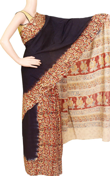 Kalamkari dyed saree with Partly pallu with a beautiful design [Black] - Premium cotton(32008B)