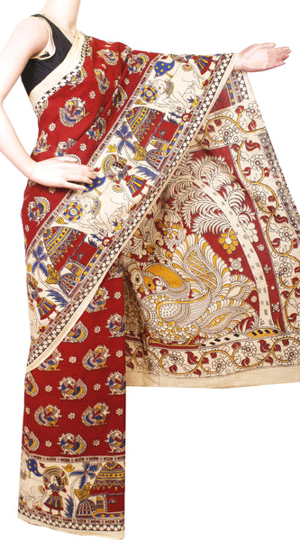 *AADI SALE (50% OFF)[Premium] Kalamkari saree with a Beautiful Border and Peacock in Pallu & Body and a contrasting blouse [Red] -Premium cotton(AD32013A)