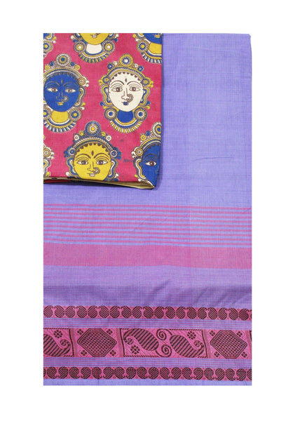 Madurai cotton saree with a matching Kalamkari Blouse material - (33059A) * No GST sale *, Sarees - Swadeshi Boutique