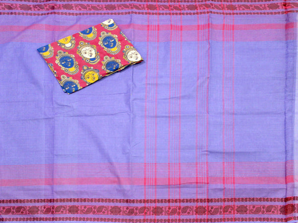 Madurai cotton saree with a matching Kalamkari Blouse material - (33059A) *Sale 50% Off*