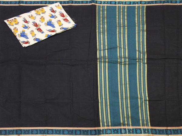 Madurai cotton saree with a matching Kalamkari Blouse material - (33077A) *Rs.100 off*, Sarees - Swadeshi Boutique