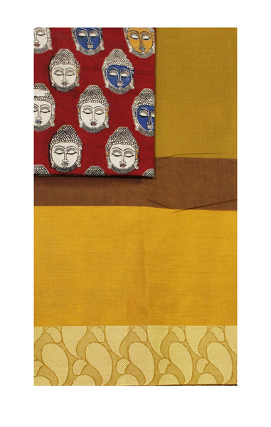 Madurai cotton saree with a matching Kalamkari Blouse material - (33101C)